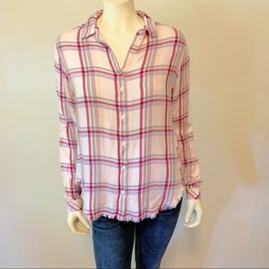 Anthro. Cloth and Stone Frayed hem Button down S